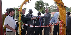 At the official opening of the Devenish Feed Mill and Model Pig Farm in Hoima, Uganda, are (L-R): Adam Sweetman, Devenish Uganda Country Manager; Michael Maguire, Project Director with Devenish, Uganda; Honourable Vincent Ssempijja, Minister of Agriculture, Animal Industry and Fisheries; Honourable Earnest Kiiza, Minister of State for Bunyoro Affairs; His Excellency Donal Cronin, Former Irish Ambassador to Uganda and Owen Brennan, Executive Chairman, Devenish.