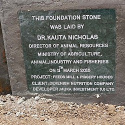 The foundation stone at the Ground Breaking Ceremony