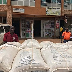 Bags of feed arriving at the distribution store in Kalerwe, Kampala